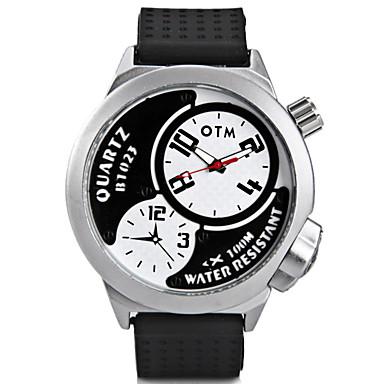 Heren Modieus horloge Unieke creatieve horloge Chinees Kwarts Grote wijzerplaat Silicone Band Cool Zwart