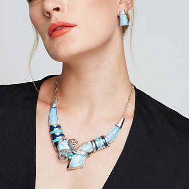 여성용 보석 세트 스터드 귀걸이 턱받이 목걸이 은 도금 보석류 스테이트먼트 쥬얼리 패션 유럽의 파티 일상 캐쥬얼 귀걸이 목걸이 의상 보석