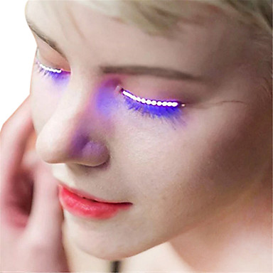 ywxlight® 1 زوج عيون مضيئة ليد رمش مصباح مزدوج الجلد ملصقات الرموش مصباح ل هالوين بار