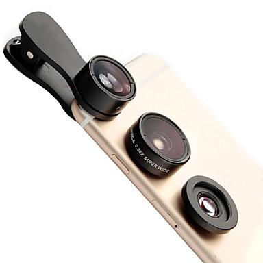Lieqi f-516 Telefonobjektiv Fischaugenobjektiv Weitwinkelobjektiv Makroobjektiv Aluminium 10x Handykameraobjektivinstallationssatz für