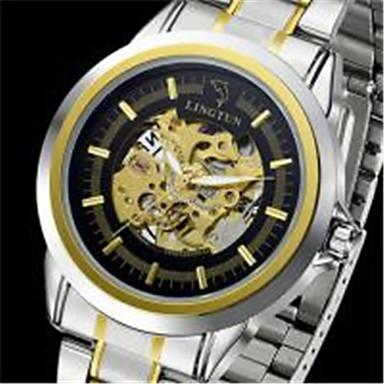Bărbați ceas mecanic Mecanism automat Calendar Rezistent la Apă Iluminat Aliaj Bandă Argint Auriu Multicolor