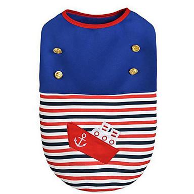 Hund Weste Hundekleidung Seefahrer Rot Blau Baumwolle Kostüm Für Haustiere Herrn Damen Lässig / Alltäglich