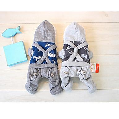 Hund Overall Hundekleidung Lässig/Alltäglich Tier Grau Blau