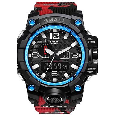 levne Pánské-SMAEL Pánské Sportovní hodinky Digitální hodinky Lovecké hodinky Silikon Černá / Červená 50 m Voděodolné Stopky Svítící Analog - Digitál Červenomodrá Khaki Camouflage Green Dva roky Životnost baterie