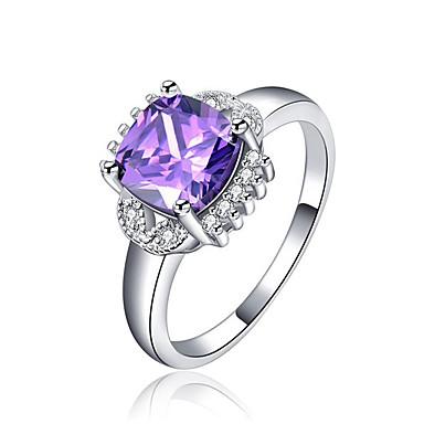 Dames Synthetische Amethist Zirkonia Zilver Bandring - Vierkant Elegant Modieus Voor Bruiloft Verloving Ceremonie