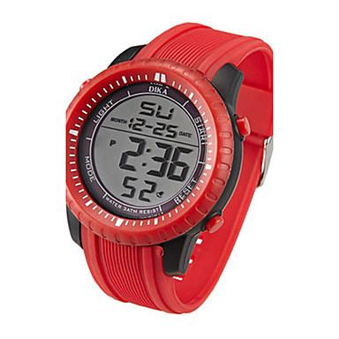 Heren Digitaal horloge Digitaal Kalender Waterbestendig Rubber Band Zwart Rood Bruin