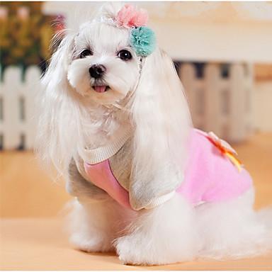 كلب كنزة ملابس الكلاب كاجوال/يومي ببيونة رمادي زهري كوستيوم للحيوانات الأليفة