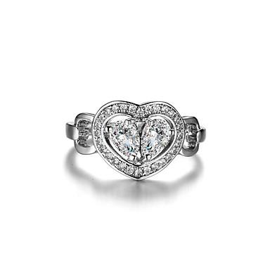 Pentru femei Verighete Ștras Zirconiu Cubic Modă Elegant Argint Zirconiu Cubic Inimă Bijuterii Nuntă Logodnă Zilnic Ceremonie Serată