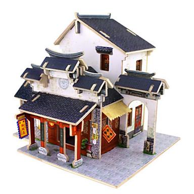 قطع تركيب3D تركيب ألعاب بيت معمارية 3D اصنع بنفسك خشب الخشب الطبيعي للجنسين قطع