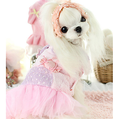 كلب الفساتين ملابس الكلاب كاجوال/يومي هندسي أزرق زهري