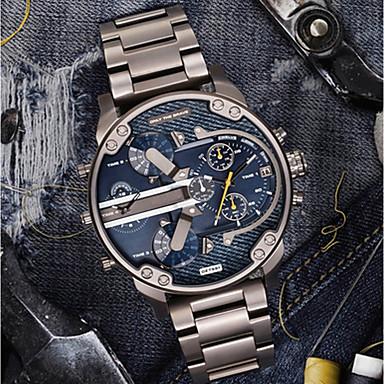 Недорогие Часы на металлическом ремешке-Муж. Повседневные часы Спортивные часы Модные часы Кварцевый Нержавеющая сталь Черный / Серебристый металл Календарь С двумя часовыми поясами Cool Аналоговый / # / # / Два года / Крупный циферблат
