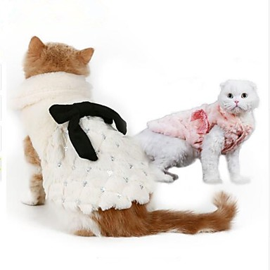 Pisici Câine Hanorca Îmbrăcăminte Câini Petrecere Keep Warm Anul Nou Solid Alb Roz Costume Pentru animale de companie