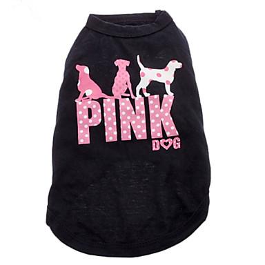 Kat Hond T-shirt Hondenkleding Letter & Nummer Zwart Katoen Kostuum Voor huisdieren Heren Dames Modieus