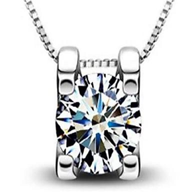 Dames Hangertjes ketting Kubieke Zirkonia Geometrische vorm Sterling zilver Gepersonaliseerde Modieus Sieraden Voor Bruiloft Feest