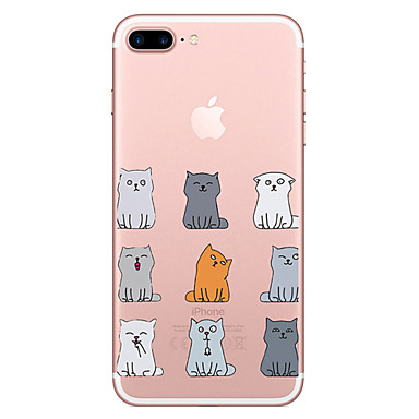 Hülle Für Apple iPhone 7 Plus iPhone 7 Transparent Muster Rückseite Katze Weich TPU für iPhone 7 Plus iPhone 7 iPhone 6s Plus iPhone 6s