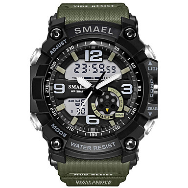 cheap Men's Watches-SMAEL Men's Sport Watch Wrist Watch Digital Watch Digital Rubber Black 30 m Water Resistant / Waterproof Alarm LED Analog - Digital Camouflage Fashion - Light Blue Khaki Camouflage Green Two Years