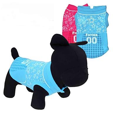Kedi Köpek Tişört Köpek Giyimi Kalp Yıldızlar Kırmzı Mavi Terylene Kostüm Evcil hayvanlar için