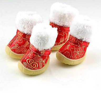 Câine Pantofi & Cizme Keep Warm Cizme de Zăpadă Anul Nou Floral/Botanic Rosu Albastru Roz Pentru animale de companie