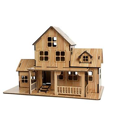 3D-puzzels Legpuzzel Speeltjes Huis Architectuur 3D Natuurlijk Hout Unisex Jongens Stuks