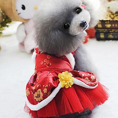 كلب الفساتين ملابس الكلاب دافئ الزفاف رأس السنة تطريز أرجواني أحمر كوستيوم للحيوانات الأليفة