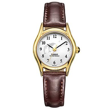 Casio للمرأة ساعات فاشن ساعة المعصم ساعة كاجوال ياباني كوارتز مقاوم للماء جلد فرقة سحر عادية أنيقة بني