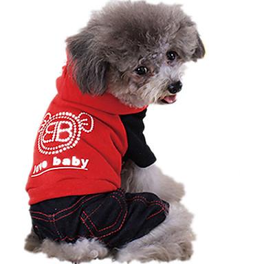 كلب حللا ملابس الكلاب كاجوال/يومي حرف وعدد أسود أحمر