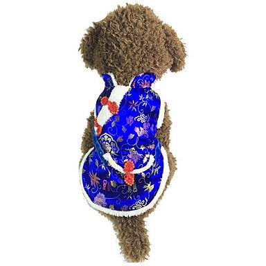 كلب سترة ملابس الكلاب مطرز أحمر أزرق قطن بطانة فرو كوستيوم للحيوانات الأليفة للرجال للمرأة كاجوال / يومي رأس السنة