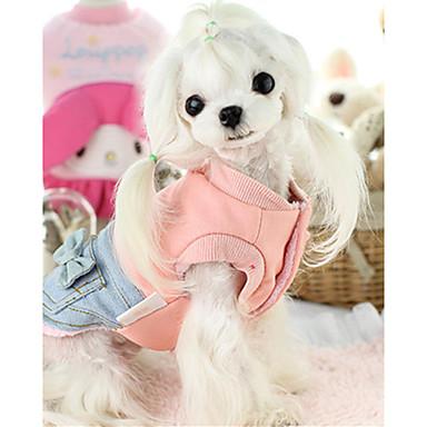 كلب سترة ملابس الكلاب دافئ كاجوال/يومي ببيونة زهري كوستيوم للحيوانات الأليفة
