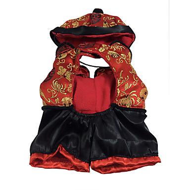 قط كلب ازياء تنكرية ملابس الكلاب هندسي أحمر حرير قماش قطيفة بطانة فرو كوستيوم للحيوانات الأليفة للرجال للمرأة الكوسبلاي