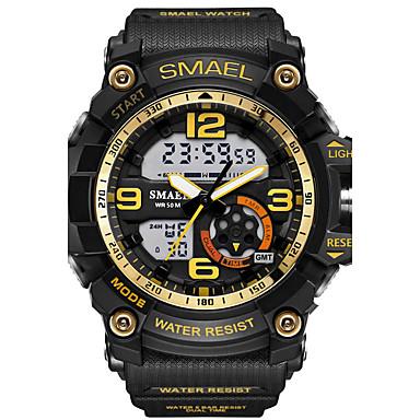 levne Pánské-SMAEL Pánské Sportovní hodinky Náramkové hodinky Digitální hodinky Digitální Pryž Černá 30 m Voděodolné Alarm LED Analog - Digitál maskování Módní - Světle modrá Khaki Camouflage Green Dva roky