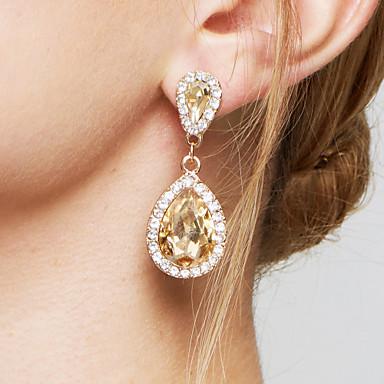 여성용 크리스탈 지르콘 모조 다이아몬드 드랍 귀걸이 귀걸이 - 신부 우아한 패션 홀딱 반할 만한 드롭 제품 결혼식 파티 기념일 약혼 일상
