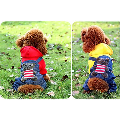 Hond Jumpsuits harnassen Hondenkleding Casual/Dagelijks Jeans Geel Rood Kostuum Voor huisdieren