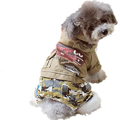 Hond Jumpsuits Hondenkleding Casual/Dagelijks Letter & Nummer Jager Groen Khaki Kostuum Voor huisdieren