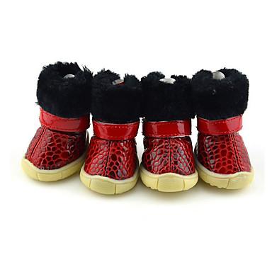 Câine Pantofi & Cizme Casul/Zilnic Keep Warm Impermeabil Cizme de Zăpadă Mată Negru Rosu Albastru Pentru animale de companie