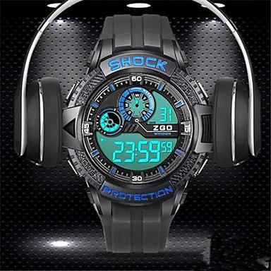 للرجال ساعة ذكية رقمي مقاوم للماء قضية مطاط فرقة أسود