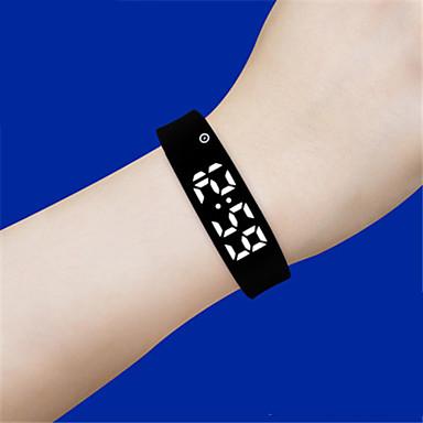 Heren Slim horloge Digitaal Waterbestendig s Nachts oplichtend Rubber Band Zwart Blauw Rood Orange Grijs