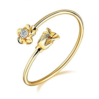 Pentru femei Brățări Bantă Zirconiu Cubic Design Basic La modă Adorabil bijuterii de lux Zirconiu Placat Auriu Placat Cu Aur Roz Flower