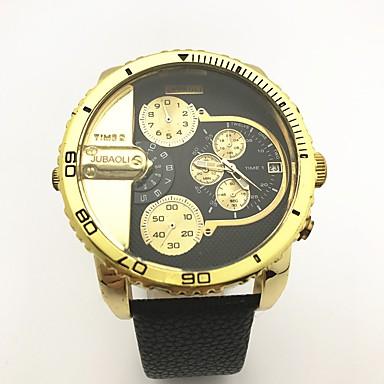 Bărbați Ceas Sport Ceas Militar  Unic Creative ceas Chineză Quartz Calendar Zone Duale de Timp  Piele Bandă Creative camuflaj Cool Negru