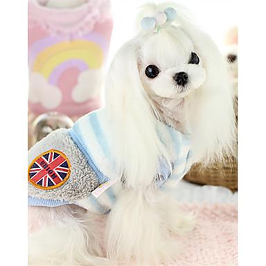 كلب سترة ملابس الكلاب مخطط أزرق زهري قطن كوستيوم للحيوانات الأليفة كاجوال / يومي