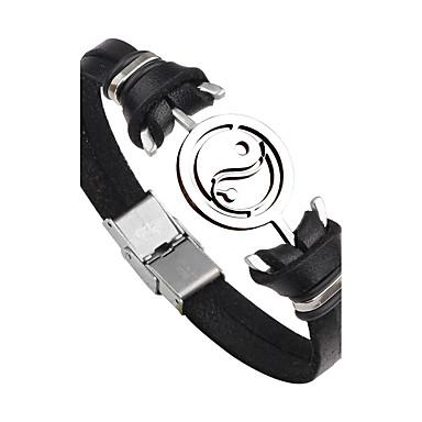 voordelige Heren Armband-Heren Lederen armbanden Anker Gepersonaliseerde Punk Modieus Roestvast staal Armband sieraden Zwart / Bruin Voor Dagelijks Causaal Toneel Straat Club