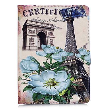 Maska Pentru Apple iPad 4/3/2 iPad Air 2 iPad Air Titluar Card Portofel Cu Stand Întoarce Model Embosat Carcasă Telefon Turnul Eiffel Greu