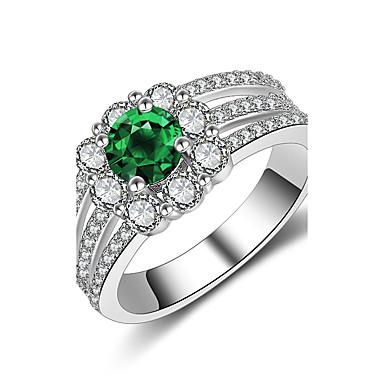 Pentru femei Sintetic Emerald Zirconiu Cubic Argintiu Band Ring - Rotund Vintage Elegant Modă Verde Închis Inel Pentru Nuntă Logodnă