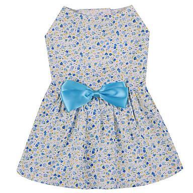 كلب الفساتين ملابس الكلاب كاجوال/يومي ببيونة أزرق زهري كوستيوم للحيوانات الأليفة