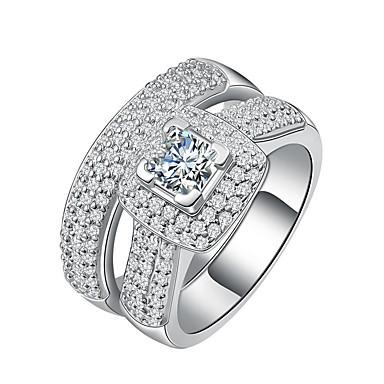 Damen Bandringe Kubikzirkonia Luxus Elegant Sterling Silber Platiert Kreisförmig Schmuck Hochzeit Verlobung Zeremonie