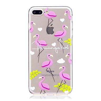 Maska Pentru Apple iPhone 7 Plus iPhone 7 Transparent Model Capac Spate Cuvânt / expresie Flamingo Animal Moale TPU pentru iPhone 7 Plus