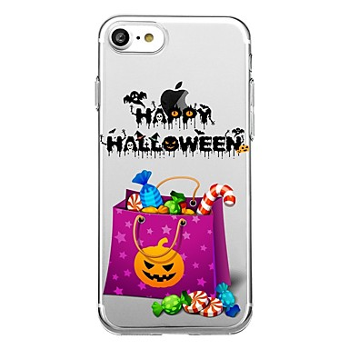 voordelige iPhone 5 hoesjes-hoesje Voor iPhone 7 / iPhone 7 Plus / iPhone 6s Plus iPhone SE / 5s Transparant / Patroon Achterkant Halloween Zacht TPU