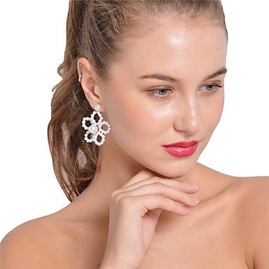 Pentru femei Floare Obsidian Imitație de Perle Cercei Stud / Cercei Picătură - Personalizat / Sexy / Declarație Alb cercei Pentru Crăciun
