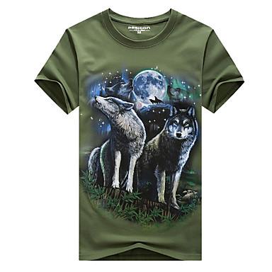 economico Abbigliamento uomo-T-shirt - Taglie forti Per uomo Attivo Con stampe, Animali Rotonda - Cotone Lupo Bianco XXXXL / Manica corta / Estate / Taglia piccola
