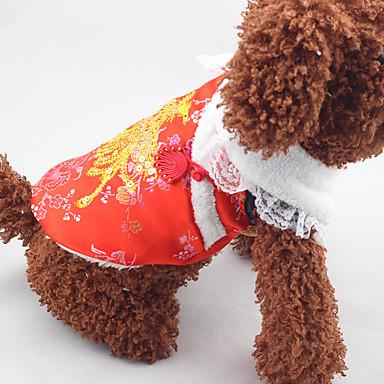 Câine Haine Îmbrăcăminte Câini Anul Nou Paiete Rosu Costume Pentru animale de companie