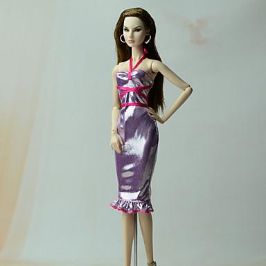 Kleider Kleider Für Barbie-Puppe Leinen/Baumwolle Vließstoff Kleid Für Mädchen Puppe Spielzeug